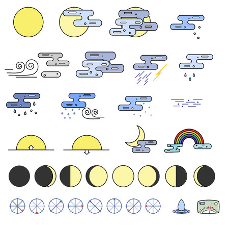 partly sunny: Weather Icons collection and the phases of the moon. Outline modern style. Colorful icons