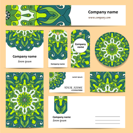 documentation: Stationery template design with green mandalas. Documentation for business.