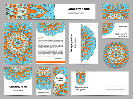 documentation: Stationery template design with mandalas. Documentation for business. Blue and orange colors