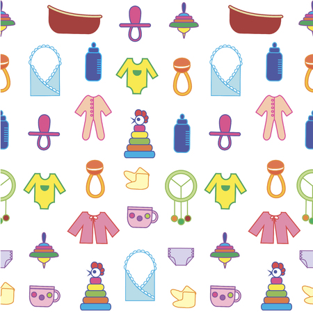 clack: Toys background. Colorful seamless pattern. Can be used for children cloth, website, typography Illustration