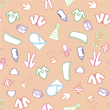 clack: Toys background. Seamless pattern. Can be used for children cloth, website, typography Illustration