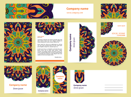 documentation: Stationery template design with dark blue mandalas. Documentation for business.