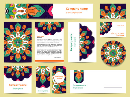 gree: Stationery template design with bright mandalas. Documentation for business. Blue, gree, orange and pink colors