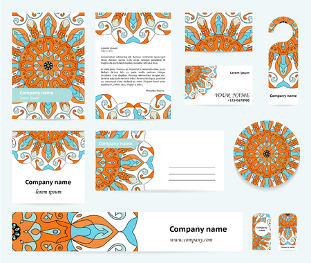 documentation: Stationery template design with mandalas motif in blue and orange colors. Documentation for business.