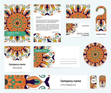 documentation: Stationery template design with blue-orange mandalas. Documentation for business.