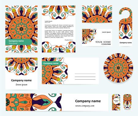 documentation: Stationery template design with blue-orange mandalas. Documentation for business.
