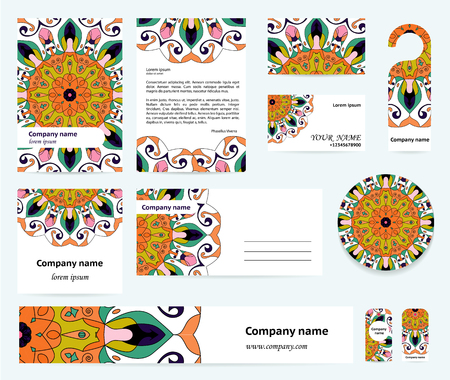 documentation: Stationery template design with mandalas in blue, orange, green and pink colors. Documentation for business. Illustration