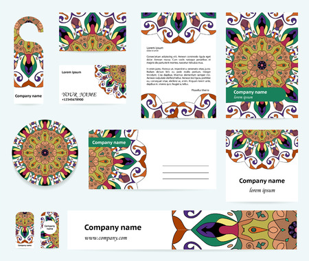 documentation: Stationery template design with colorful mandalas. Blue, green and terracot colors. Documentation for business.