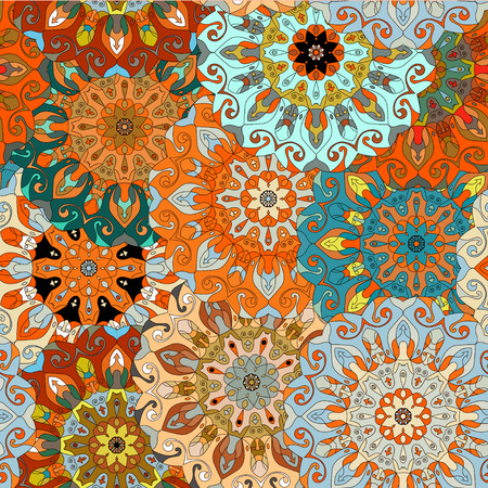 ottoman fabric: Vintage decorative pattern. Islam, Arabic, Indian, ottoman motifs. Perfect for printing on fabric or paper. Can be used for greeting card or booklet background. Blue and orange colors
