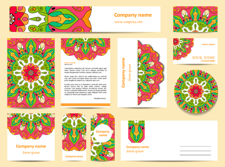 documentation: Stationery template design with mandalas. Documentation for business. Pink and green colors