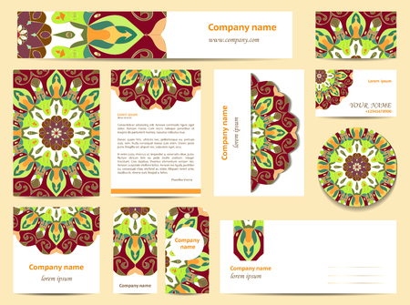 documentation: Stationery template design with mandalas. Documentation for business. Green and burgundy colors