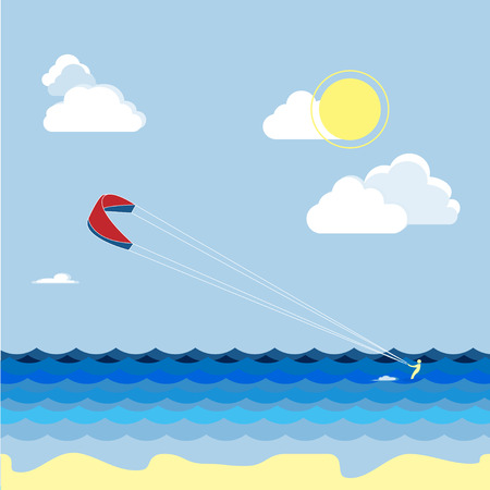 water skiers: Summer kite surfing sport. Man skiers on the water, summer vacation.