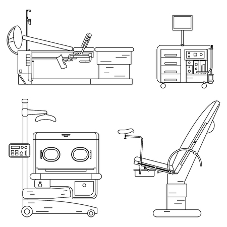 Outline medical hospital equipment set. Gynaecology chair and couch, Infant incubator, working Cabinet of the gynecologist