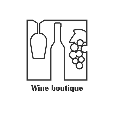 wine grapes: label for wine boutique, winery or wine house. Flt style Illustration
