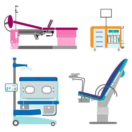 gynecologist: Medical hospital equipment set. Gynaecology chair and couch, Infant incubator, working Cabinet of the gynecologist. Colorful flat style Illustration