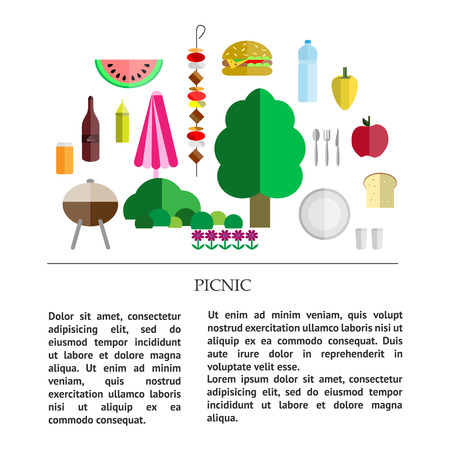 banana bread: picnic collection - different components of a picnic - food, drinks, utensils and grill, nature with place for text.