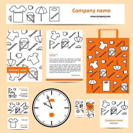 souvenir: Stationery set design template. Corporate identity design for souvenir company.