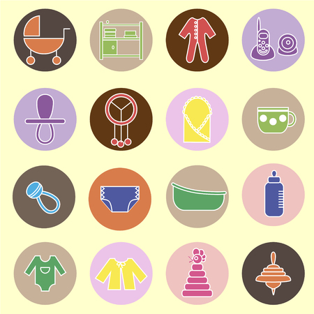 bootees: Colorful flat web icon set. Baby equpment, toys, feeding and care
