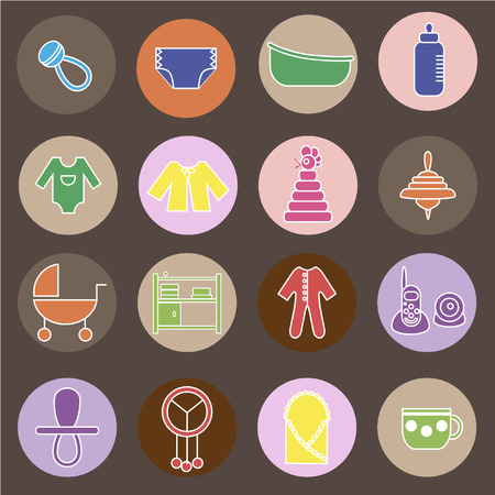 diaper changing table: Colorful flat web icon set. Baby equpment, toys, feeding and care