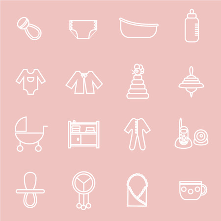 bootees: Outline flat web icon set. Baby equpment, toys, feeding and care