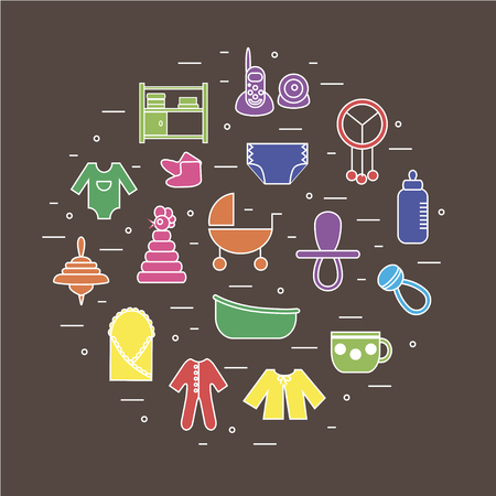 diaper changing table: Flat colorful icons on baby themes composed in circle shape on brown background. Can be used for baby shower cards, invitations etc. Illustration