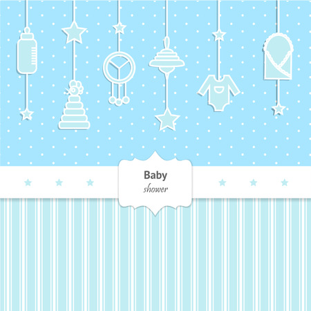 baby toys: Baby Shower Invitation for boy. Cute card with toys and baby cloth Illustration