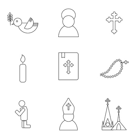 savant: Jesus Christ religion icons set. Christianity pictograms outline style