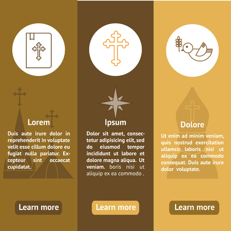 abbey: Jesus Christ religion banners set. Christianity vertical banners with text. Can be used for website, typography purpose etc.