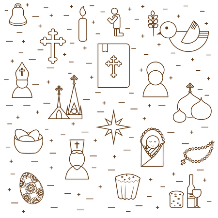 mitre: Christianity background from outline pictograms. Christianity symbols design in modern outline style. Can be used for religion purpose as site backdrop, cards cover etc. Illustration