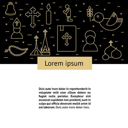 mitre: Jesus Christ religion background with text. Christianity outline pictograms. Modern style