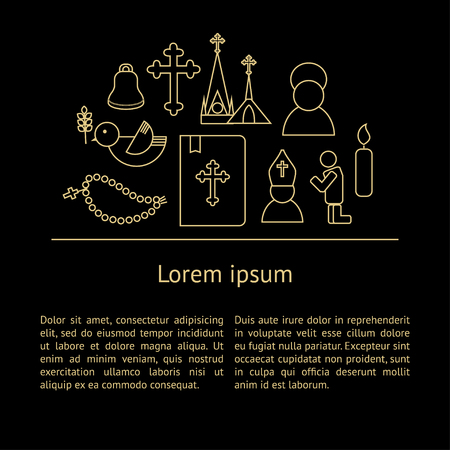 mitre: Jesus Christ religion background with text. Christianity outline pictograms. Luxury style