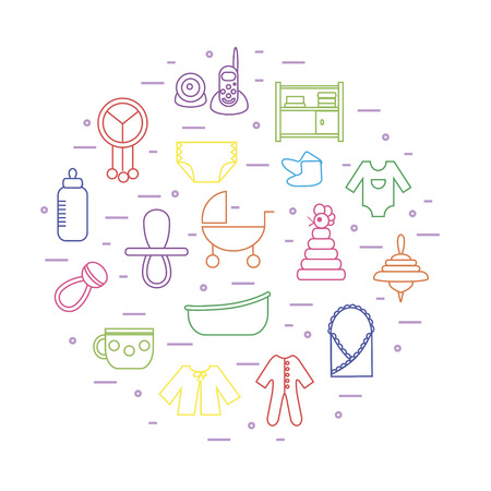 diaper changing table: Thin line colorful icons on baby themes composed in circle shape. Can be used for baby shower cards, invitations etc.