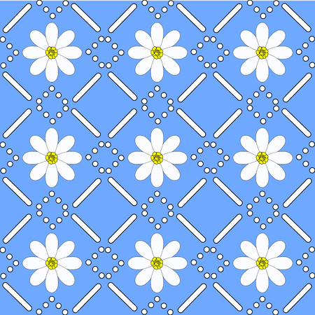 chamomiles: seamless pattern with chamomiles. Can be used as fabric texture, background, template for greeting card