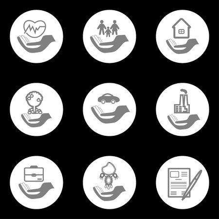 family policy: Set insurance pictograms in round shape - home, auto, health, life insurance, insurance luxury items, agricultural and business risk insurance, insurance package, insurance policy