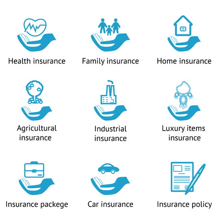 family policy: Vector insurance pictograms set- home, auto, health, life insurance, insurance luxury items, agricultural and business risk insurance, insurance package, insurance policy Illustration