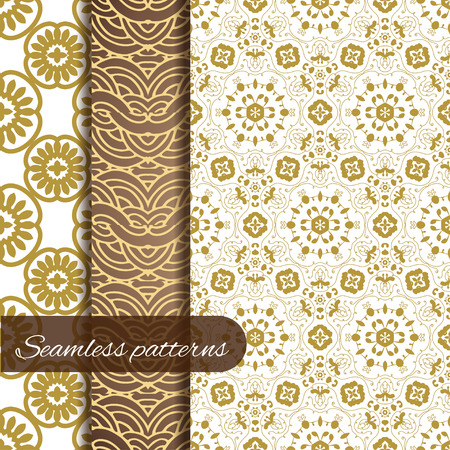 wallpapper: Lace vector fabric seamless patterns collection - 3 royal gold patterns. Can be used as wallpapper, invitation card and other design