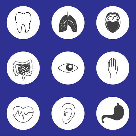 gut: Set of monochrome icons of human organs in round shape Illustration