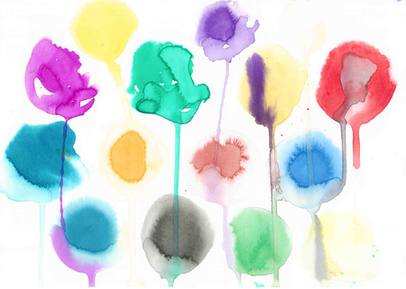 water damage: Hand drawn colorful watercolor spots, isolated over white. Stains from water damage Stock Photo