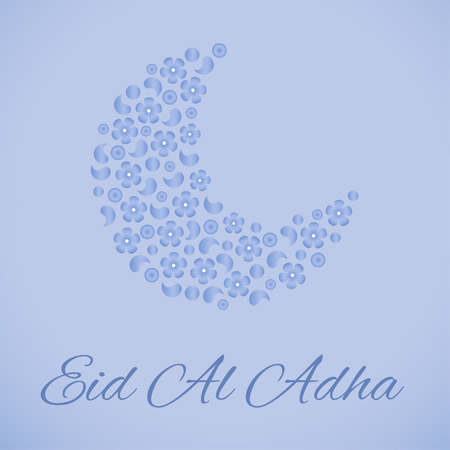 moon flower: Beautiful greeting card for Eid Al Adha festival. Moon decorated with flower on blue background for muslim community festival Eid Mubarak celebrations.