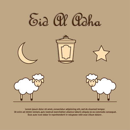 eastward: Greeting card template for Muslim Community Festival of sacrifice Eid-Ul-Adha with sheeps, latern, moon and star. Vector Illustration