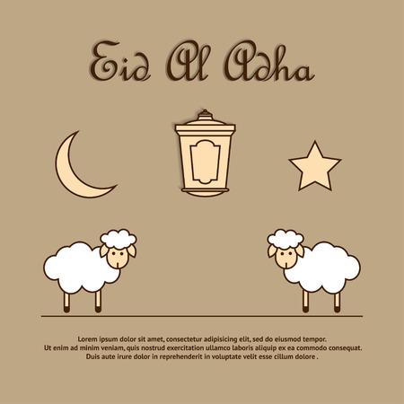 sacrificio: Plantilla de la tarjeta para los musulmanes Festival de la Comunidad de sacrificio Eid'ul Adha con ovejas, latern, la luna y las estrellas. Ilustraci�n del vector
