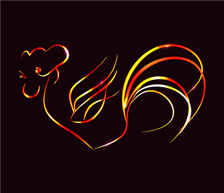 Artistically painted, bright fire rooster on a black background.