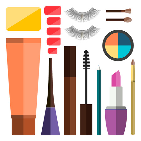 set up: Set of vector flat colorful cosmetics, make up icons