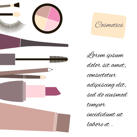 make up artist: Cosmetics and fashion background with make up artist objects: lipstick, mascara, eye shadow, nail. With place for your text .Template Vector.