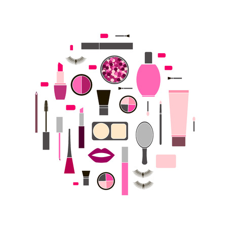 seamless colorful pattern background with Makeup products in round shape