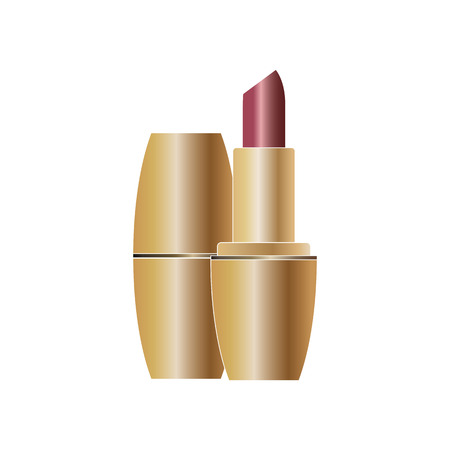 Red lipstick in gold design close up isolated on white background Illustration