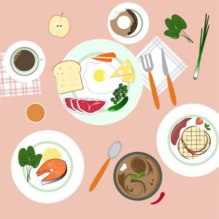 food in flat illustratie stijl. Verschillende gerechten. Bovenaanzicht.