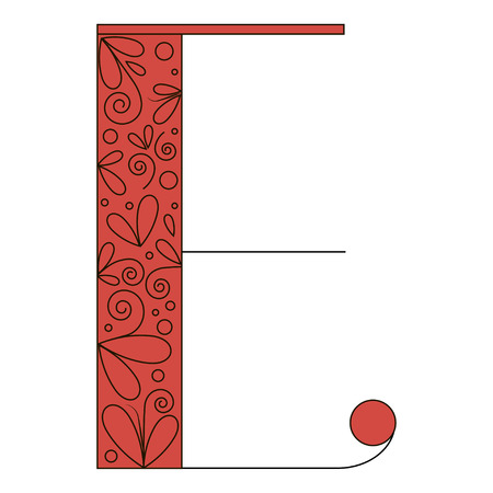 Decorative letter shape. Font type E. Black and red colors  イラスト・ベクター素材