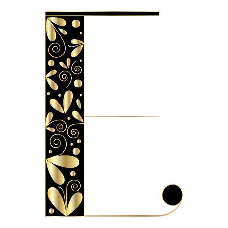 initial cap: Decorative letter shape. Font type E. Black and gold colors