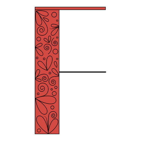 initial: Decorative letter shape. Font type F. Black and red colors